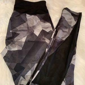 Pants - Black grey and white abstract print workout pants